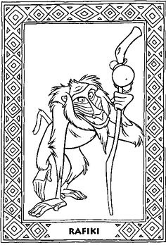 color therapy coloring pages lion king | how to draw rafiki step 7 | How To Draw Disney Characters ...