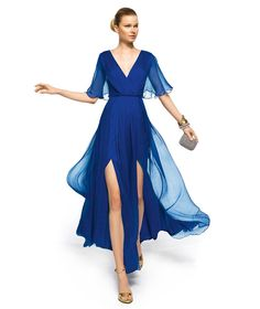Unique Royal Blue Evening Dress Sexy Deep V-neck Chiffon A-line Long With Sequined Cap-sleeves 2014 Evening Dress