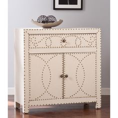 Portico Floral-etched Brass Leaf Accent Cabinet - Overstock Shopping - Great Deals on Coffee, Sofa & End Tables