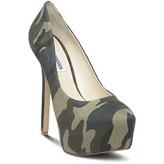 Steve Madden Women's Dejavu Heels ($50) ❤ liked on Polyvore featuring shoes, pumps, heels, camo multi, sexy high heel pumps, platform shoes, sexy high heel shoes, camo pumps und camouflage pumps