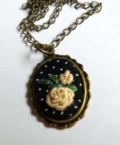 Pendant necklace embroidered jewelry hand by RedWorkStitches, $20.00