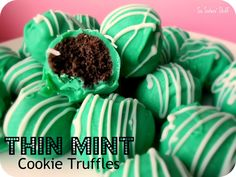 No-Bake Thin Mint Cookie Truffles Recipe on SixSistersStuff.com- these are one of my favorite Christmas treats!