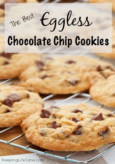 The best EGGLESS chocolate chip cookies-I made these for after school treats and they were good! (make chocolate chip cookies) Egg Free Desserts, Eggless Desserts, Eggless Recipes, Eggless Baking, Egg Free Recipes, Allergy Free Recipes, Baking Recipes, Dessert Recipes, Baking Desserts