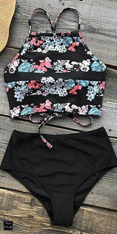 2018 Spring Swim Set High Waisted Swimsuit. #TwoPieceSwimSet #TwoPieceSwimsuit #TwoPieceOutfit #TwoPieceSwimwear #TwoPieceBathingSuit #SummerSwimsuit #2018Swimsuits #HighNeckSwimsuit #floralprinttwopieceswimsuit #2018bikinis #womensfashion #2018beachtrends #2018floralbikinis