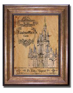 One of a kind Cinderella Print! This unique Disney print features Cinderellas castle . Print is on premium, matte finish professional paper. This one of a kind print is designed by yours truly using a unique vintage style. Available in multiple sizes: 11x14, 8x10, (inches)  Please note that different computer monitors will display images a little differently with regards to colors, lighter/darker shades etc, so what you see on your screen may vary slightly from the prints you receive.  Each…