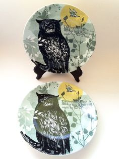 """222 FIFTH Set of 2 Plates: """"The Forest"""" Owl Moon Bewitching Halloween Porcelain #222Fifth"""