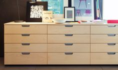 Three GALANT drawer units in birch veneer