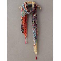 Casual Flower Patchwork Pattern Tassel Pashmina #jewelry, #women, #men, #hats, #watches, #belts, #fashion
