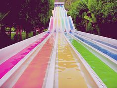 I want rainbow water slides for my house! Rainbow Water, Over The Rainbow, Rainbow Magic, Rainbow Light, Summer Of Love, Summer Fun, Pink Summer, Summer Nights, Cool Water Slides