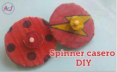 Spinner casero de cartón y palillos de madera (Manualidad para niños - DIY infantil). Una idea para jugar con los niños en casa.