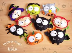 Lovelia: New Halloween Collection! Trick or Treat? Dulceros Halloween, Adornos Halloween, Halloween Sewing, Holidays Halloween, Halloween Decorations, Halloween Clothes, Halloween Ornaments, Felt Decorations, Fall Crafts