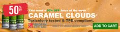 This weeks 50% OFF Juice of the week.. Caramel Clouds - Fully TPD compliant and toxicology tested.
