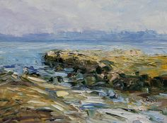 Chasing October Sun by the Sea  12 x 16 oil on canvas by Terrill Welch. A contemporary Canadian plein air west coast landscape  painting.