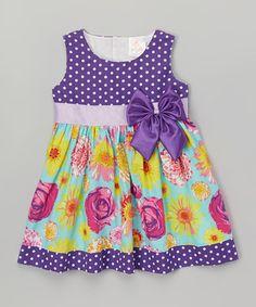 Purple Polka Dot & Floral A-Line Dress - Toddler & Girls