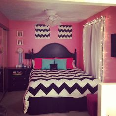My chevron room :) diy chevron canvases made my me! Bedspread from urban outfitters!