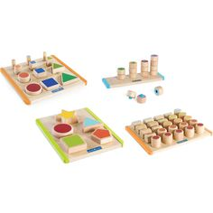 Ages Includes: Nest & Fit Shapes, Nest & Stack Shapes, Count & Stack Poppers and Count by Colour Cylinders. Triangle, Classroom, Shapes, Color, Colour, Colors