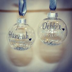 Designed by The Little Lovebird Ideal for Christmas Winter Wedding Favours or Gifts. Pretty Personalised Baubles #lovebirdthe #lovebird #wedding #bride #engaged