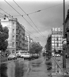 Krakowskie Przedmieście widziane z al. Racławickich, lata 70.
