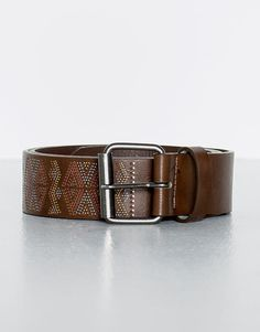 Pull&Bear - hombre - cinturones - cinturon etnico - marron - 09870506-I2016