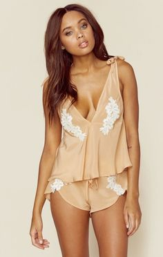 For Love And Lemons New New Clothing New Tops Adeline Silk Pj Top