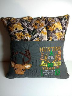 Pocket travel pillow, reading pillow with Deer and reading saying embroidery, Pocket pillow, reading pillow with Deer and reading saying embroidery, Book Pillow, Reading Pillow, Pillow Embroidery, Embroidery Patterns, Embroidery Thread, Learning To Embroider, Machine Embroidery Projects, Sewing Pillows, Pillow Forms