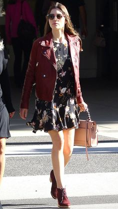 Jessica Biel in a floral mini dress, red leather jacket and booties- click through for more celebrity outfit ideas