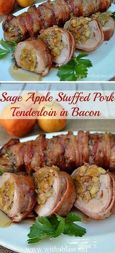 Pork And Apple Recipe, Pork Loin Recipes Oven, Bacon Wrapped Pork Tenderloin, Cooking Pork Tenderloin, Bacon Recipes, Apple Stuffed Pork Tenderloin, Stuffed Pork Fillet, Turkey Tenderloin Recipes, Pork Dishes