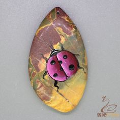 Jewelry necklace Hand Painted beetle Natural Gemstone pendant Beads ZL805342 #ZL #Pendant