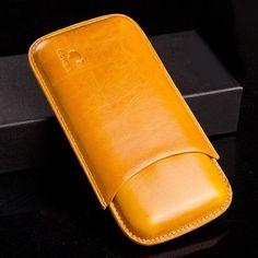 COHIBA Soft Leather 3 tube Cigar Case - CedarHumidor Leather Case, Soft Leather, Cigar Cases, Cigars, Sunglasses Case, Tube, Modern, Men, Leather Pencil Case