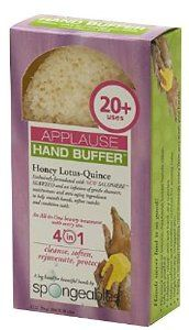 Spongeables 4-In-1 Applause Hand Buffer (Yellow) 20+ Uses Honey Lotus-Quoince by Spongeables. $1.50. Buy Spongeables Sponges - Spongeables 4-In-1 Applause Hand Buffer (Yellow) 20+ Uses Honey Lotus-Quoince. How-to-Use: Wet, squeeze to release creamy lather, begin exfoliating, massaging paying attention to your soles.