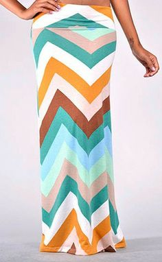 For me!!  Green Chevron Multi-Colored Skirt - CozyCouture