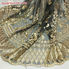Luxury Lace Mesh Fabric Gold Floral Embroidery Scalloped 1920S Dress Clothes Curtain By Meter Gold Lace Fabric, Embroidered Lace Fabric, Tulle Lace, Floral Embroidery, Dress Lace, Tambour Embroidery, Retro Floral, Floral Lace, Bridal Dresses