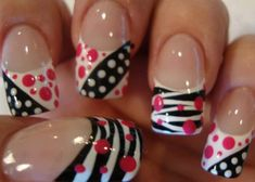 White / Black / Pink Striped / Polka Dotted Nails