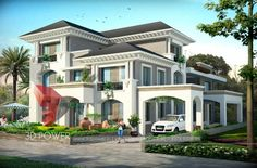 Exterior Home Design Night View Classic House Design, House Front Design, Modern House Design, Hotel Design Architecture, Design Hotel, Modern Architecture, Bungalow Haus Design, Bungalow Interiors, House Plans Mansion