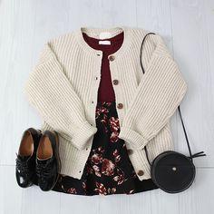 Korean fashion - red top, black floral skirt, beige cardigan, black shoes and black bag