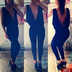Sexy Women Deep V Black Open Shirt Backless Tight Waist Shirt Low Cut Jumpsuit on Luulla