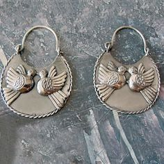 Mexican Mazahua earrings silver .950 with Lovebirds. $45.00, via Etsy.