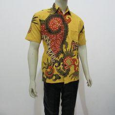 Model kemeja batik pria lengan pendek motif abstrak kotak kotak