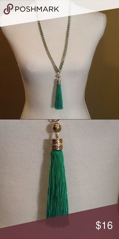 """BCBG Tassel Necklace Turquoise tassel necklace with satin cording intertwined with gold chain. Necklace size: 28""""-31"""" length with lobster clasp. BCBG Jewelry Necklaces"""