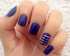 Navy blue and metallic