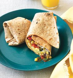 Egg, Bean, and Veggie Wrap: A morning egg, bean, and veggie wrap is vegetarian-friendly way to pack in the protein, folate, and iron.