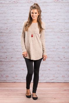 """""""Snuggle Up Top, Camel"""" Now this is a top you can definitely snuggle up to! The soft, cozy fabric makes it so comfy to wear and the casual cut make it so easy to style!  #newarrivals #shopthemint"""