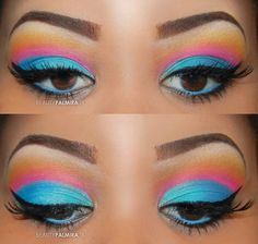 Bright Colors Eye Shadow Look Picture from makeup. Perfect Makeup, Cute Makeup, Gorgeous Makeup, Flawless Makeup, Beauty Makeup, Makeup Art, Colorful Eye Makeup, Crazy Makeup, Makeup Goals