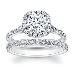 1.32 carat Round Brilliant Cut Diamond Halo Engagement Bridal Ring Set in 14k White Gold $2,699.00