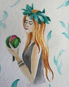 #art #artpicture #art🎨 #aquarelle #girl #water #nimph #waternimph #design  #draw #illustration
