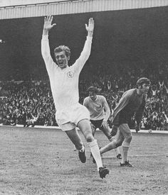 9th August 1969. Allan Clarke celebrates scoring on his debut against Tottenham Hotspur, at Elland Road.