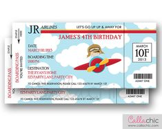 Airplane Ticket Invitation PRINTABLE - Boarding Pass Aeroplane Plane Boy Birthday Party with Pilot