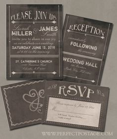Chalkboard themed wedding invitation and rsvp card.  Repinned by Annie @ www.perfectpostage.com