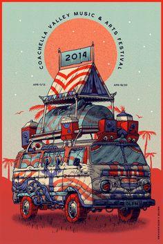 Coachella Music Festival ~ 2014 Concert Art Poster ~ by Smithe, VW Camper