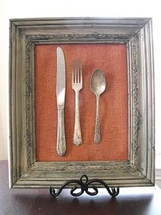Antique cutlery set framed. Great to hang in the kitchen.